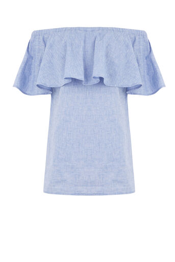 Warehouse, CHAMBRAY SMOCK BARDOT TOP Light Blue 0
