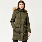 Warehouse, Fitted Wadded Coat Khaki 3