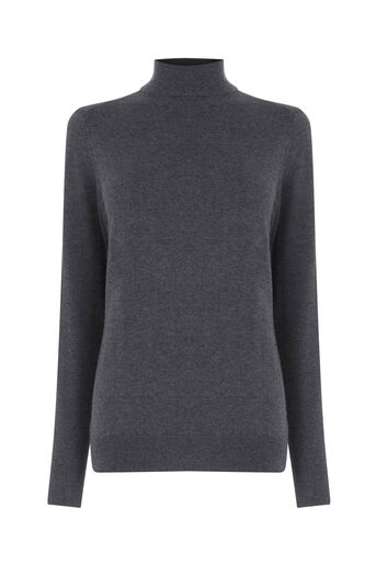 Warehouse, POLO NECK JUMPER Dark Grey 0