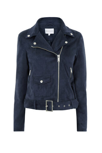 Warehouse, Suedette Crop Biker Jacket Navy 0