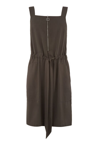 Warehouse, SLEEVELESS ZIP DETAIL DRESS Khaki 0