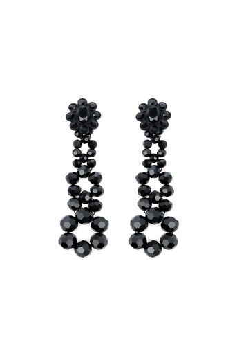 Warehouse, FLOWER JEWEL DROP EARRING Black 0