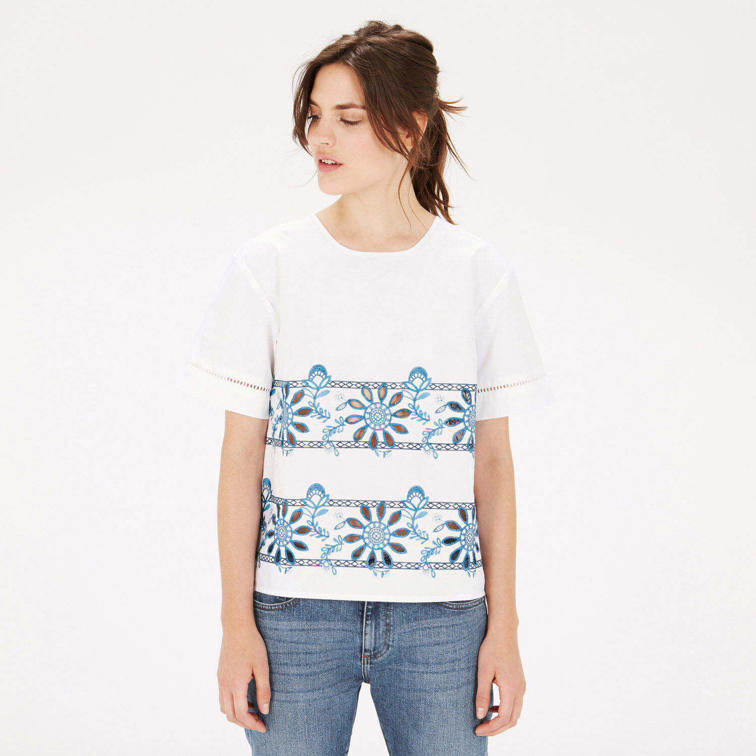 Warehouse, Embroidered T-Shirt White 1