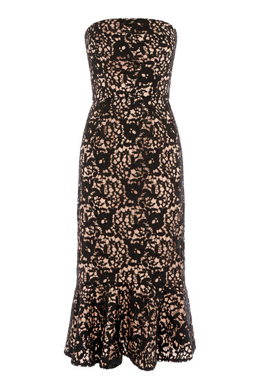 Warehouse, STRAPLESS PREMIUM LACE DRESS Black 0