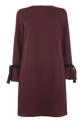 Warehouse, GROSGRAIN TIE CUFF DRESS Berry 0