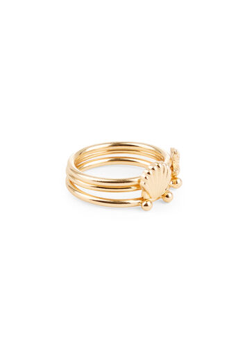 Warehouse, SHELL TRIPLE RING SET Gold Colour 0