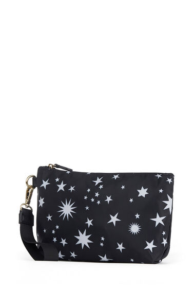 Warehouse, Star Print Wash Bag Set Black Pattern 1
