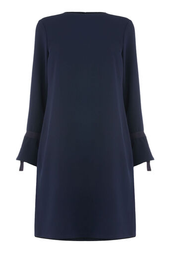 Warehouse, GROSGRAIN TIE CUFF DRESS Navy 0