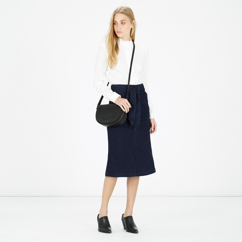Warehouse, Leather Mini Saddle Bag Black 1