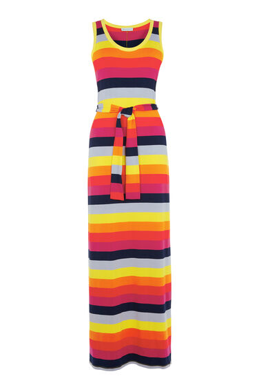 Warehouse, RAINBOW STRIPE MAXI DRESS Multi 0