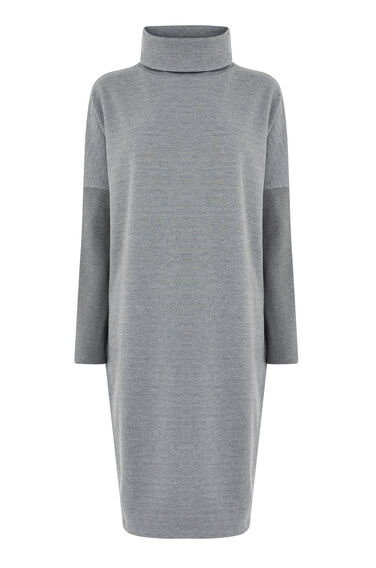Warehouse, RIB DETAIL ROLL NECK DRESS Dark Grey 0