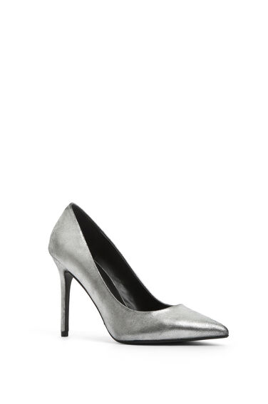 Warehouse, POINTY HEELED COURT SHOE Pewter 0