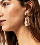 Warehouse, LARGE HAMMERED DISC EARRINGS Gold Colour 1