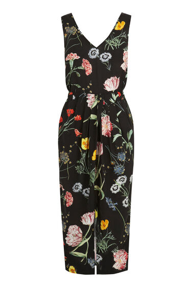 Warehouse, Scatter Floral Sleeveless Midi Black Pattern 0