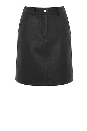 Warehouse, Faux Leather Fly Detail Skirt Black 0