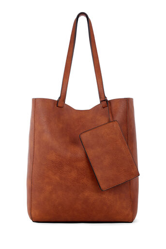 Warehouse, CASUAL FOLDED STITCH SHOPPER Tan 0