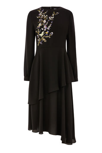 Warehouse, ORIENTAL BIRD MIDI DRESS Black 0