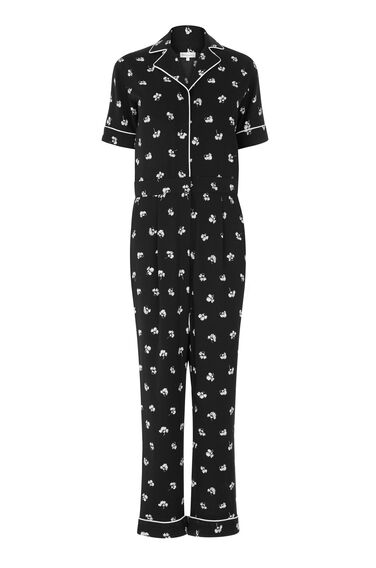 Warehouse, DANDY MONO JUMPSUIT Black Pattern 0