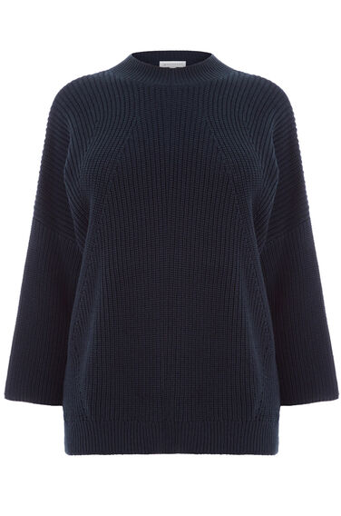 Warehouse, RIB FUNNEL NECK JUMPER Navy 0