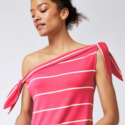 Warehouse, STRIPE TIE SHOULDER TOP Pink Stripe 4