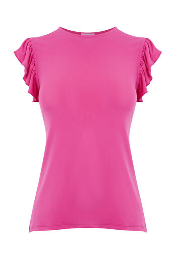 Warehouse, CUT OUT BACK FRILL TOP Magenta 0