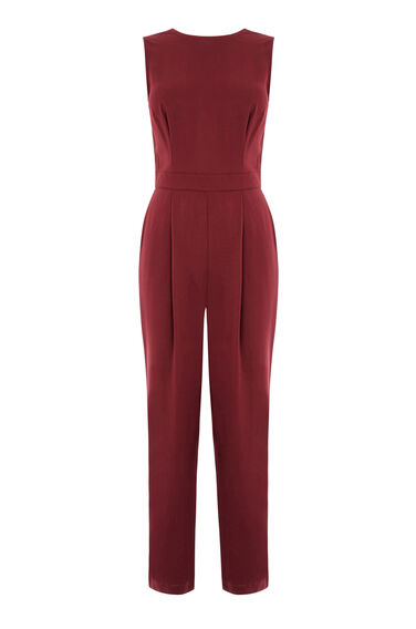 Warehouse, CASUAL TIE BACK JUMPSUIT Dark Red 0