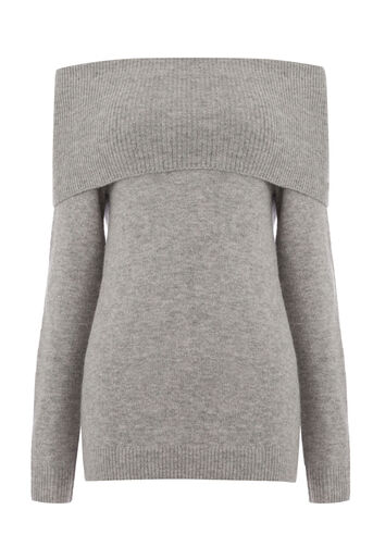 Warehouse, SOFT DEEP BARDOT JUMPER Dark Grey 0