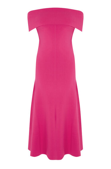 Warehouse, DEEP BARDOT KNIT DRESS Bright Pink 0