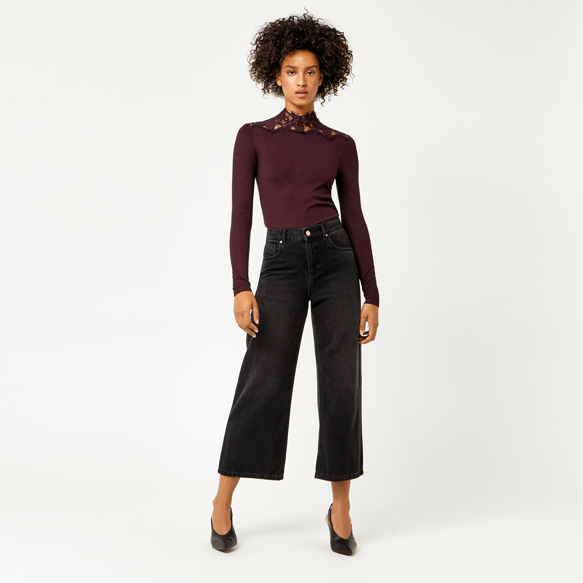 Warehouse, LACE HIGH NECK JUMPER Berry 1