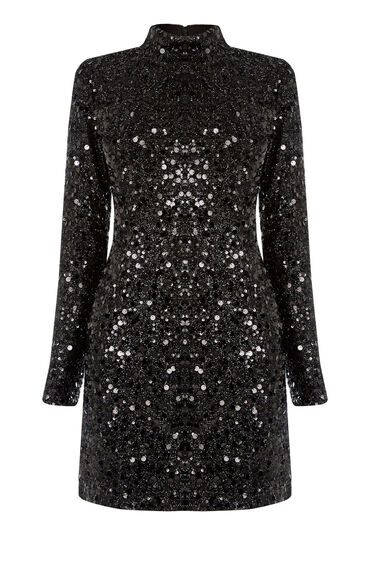 Warehouse, HIGH NECK SEQUIN DRESS Black 0
