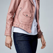 Warehouse, Faux Leather Crop Biker Jacket Bright Pink 4