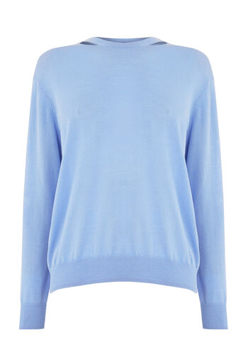 Warehouse, SPLIT NECK CREW JUMPER Light Blue 0