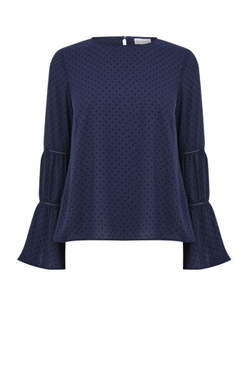 Warehouse, DOBBY LACE INSERT TOP Navy 0