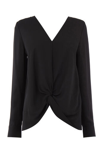 Warehouse, KNOT FRONT LONG SLEEVE TOP Black 0