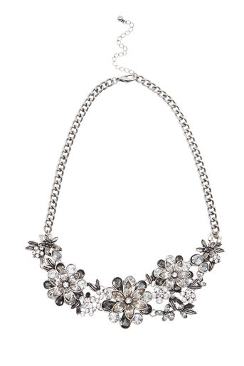 Warehouse, FLORAL STATEMENT NECKLACE Silver Colour 0