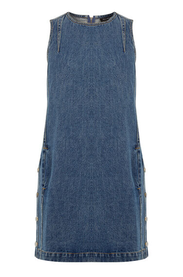 Warehouse, Side Button Denim Dress Mid Wash Denim 0