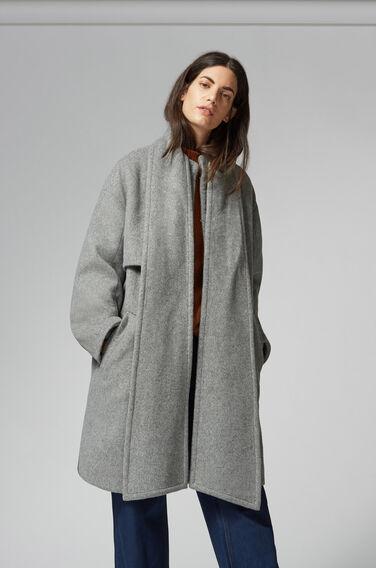 Warehouse, Scarf Cape Coat Light Grey 1
