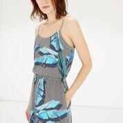 Warehouse, Palm Print Cami Dress Blue Pattern 4