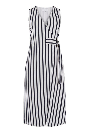 Warehouse, STRIPE WRAP DRESS Blue Stripe 0