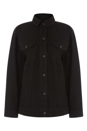 Warehouse, Long Denim Jacket Black 0