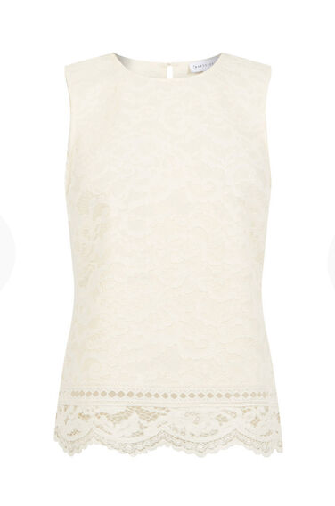 Warehouse, BONDED LACE SHELL TOP Cream 0