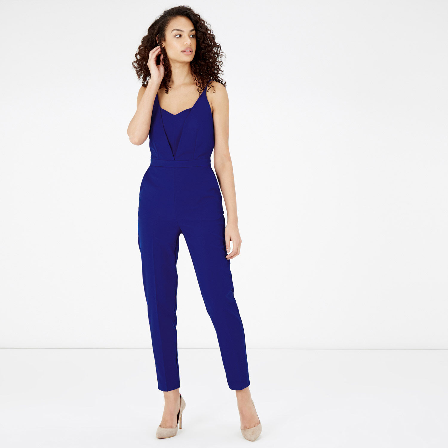 Warehouse, STRAPPY PLUNGE JUMPSUIT Bright Blue 1