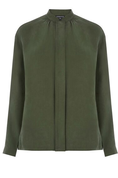 Warehouse, Cupro Bomber Jacket Dark Green 0