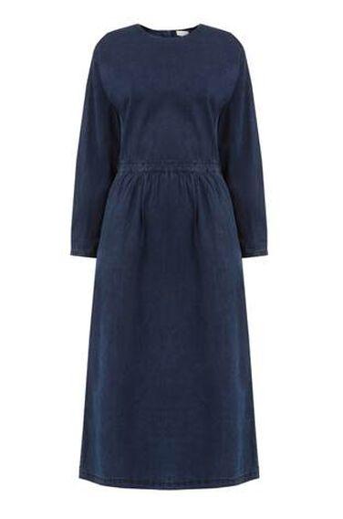 Warehouse, Zip Back Midi Dress Dark Wash Denim 0