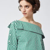 Warehouse, STRIPE BOAT NECK TOP Green Stripe 4