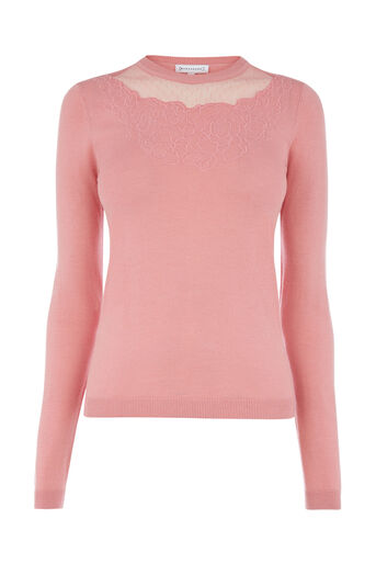 Warehouse, FLORAL EMBROIDERED JUMPER Light Pink 0