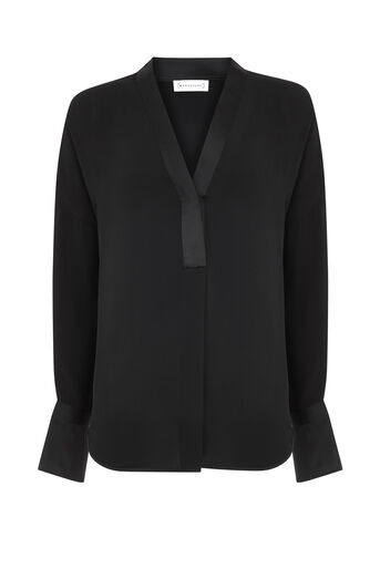 Warehouse, LONG SLEEVE SATIN MIX BLOUSE Black 0