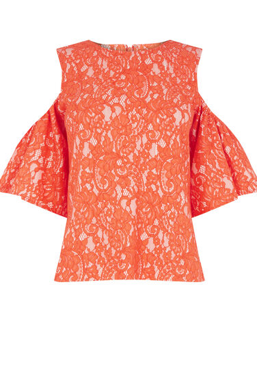 Warehouse, BONDED LACE COLD SHOULDER TOP Orange 0
