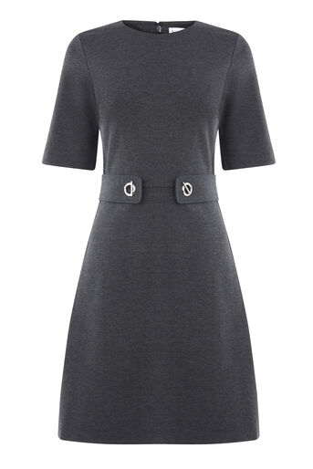 Warehouse, BAR PONTE DRESS Dark Grey 0