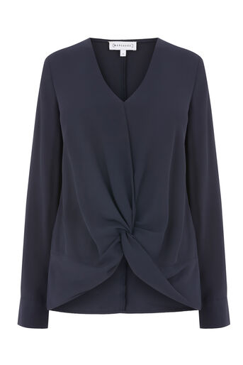 Warehouse, KNOT FRONT LONG SLEEVE TOP Navy 0